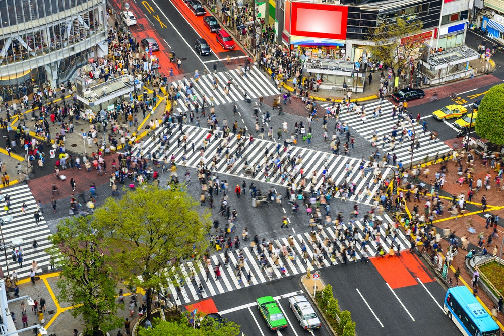 Tokyo, Japan view of Shibuya Crossing, one of the busiest crosswalks in the world..jpeg